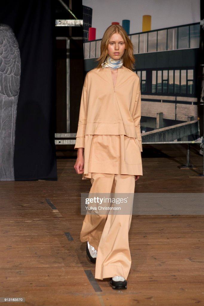 A model on the runway for Ganni during the Copenhagen Fashion Week Autumn/Winter 18 on February 1, 2018 in Copenhagen, Denmark.