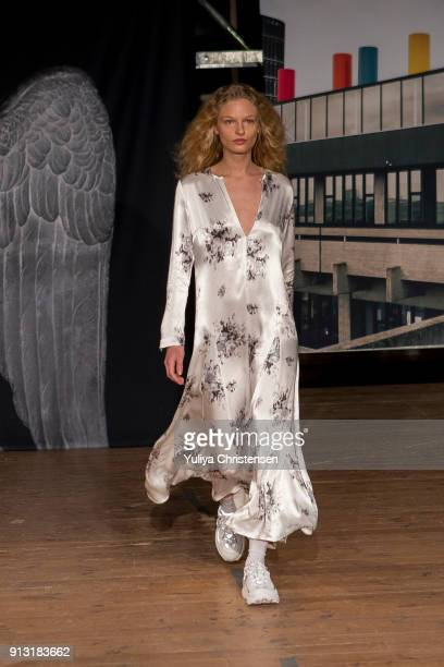 A model on the runway for Ganni during the Copenhagen Fashion Week Autumn/Winter 18 on February 1 2018 in Copenhagen Denmark
