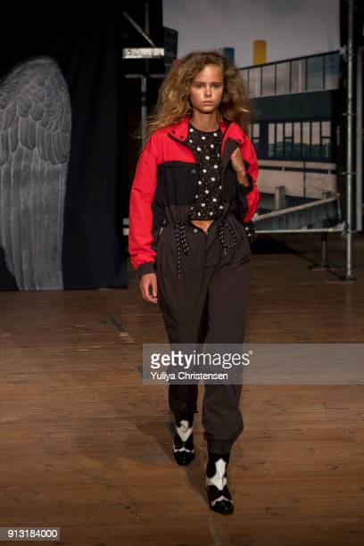 A model on the runway for Ganni during the Copenhagen Fashion Week Autumn/Winter 18 on February 1 2018 in Copenhagen Denmark
