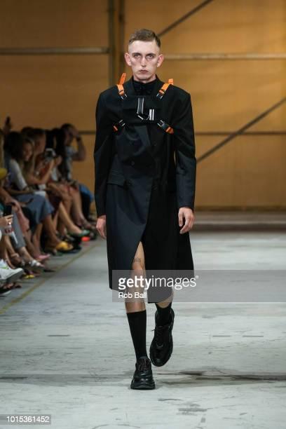 A model on the runway for J Lindeberg during Copenhagen Fashion Week Spring/Summer 2019 on August 8 2018 in Copenhagen Denmark