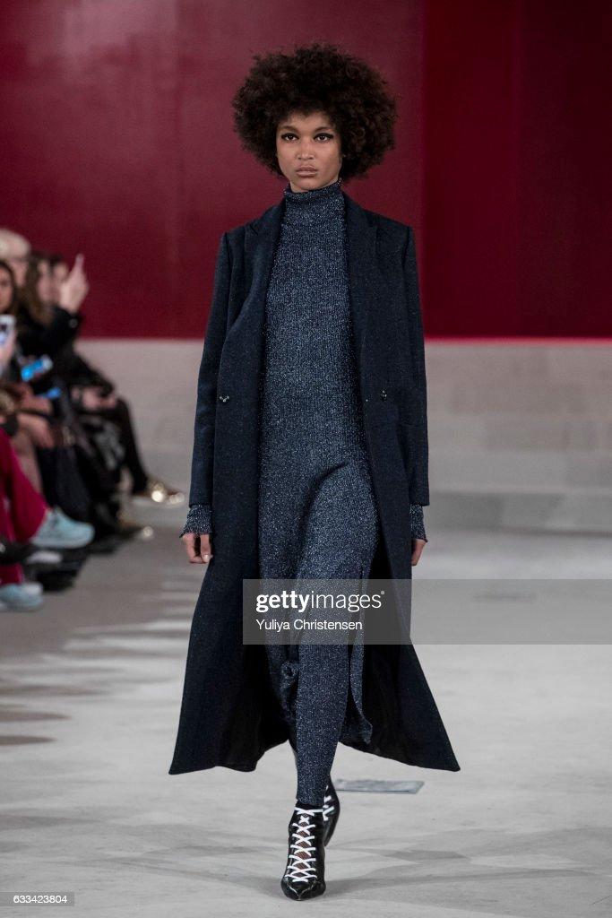A model on the runway for Lala Berlin show during the Copenhagen Fashion Week Autumn/Winter 17 on February 1, 2017 in Copenhagen, Denmark.