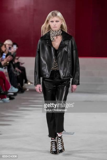 A model on the runway for Lala Berlin show during the Copenhagen Fashion Week Autumn/Winter 17 on February 1 2017 in Copenhagen Denmark