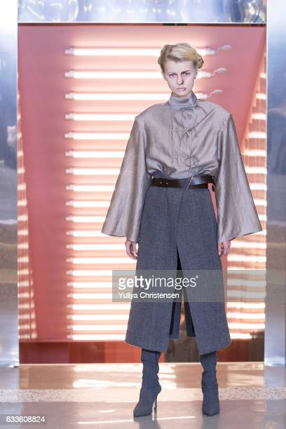 A model on the runway for Mark Kenly Domino Tan during Copenhagen Fashion Week Autumn/Winter 17 on February 2 2017 in Copenhagen Denmark