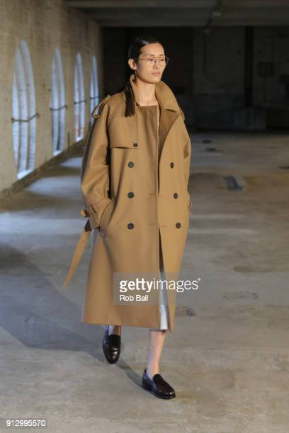 A model on the runway for Mark Kenly Domino Tan during Copenhagen Fashion Week Autumn/Winter 18 on February 1 2018 in Copenhagen Denmark