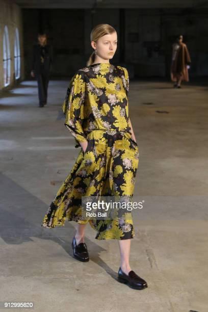 A model on the runway for Mark Kenly Domino Tan during Copenhagen Fashion Week Autumn/Winter 18 on February 1 2018 in Copenhagen Denmark