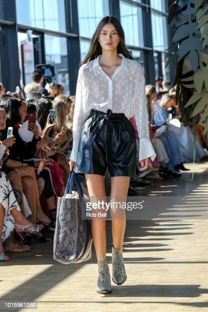 A model on the runway for Munthe during Copenhagen Fashion Week Spring/Summer 2019 on August 9 2018 in Copenhagen Denmark