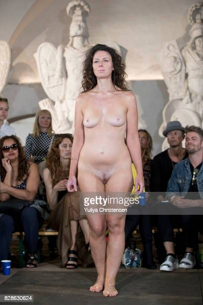 A model on the runway for the designer Nicholas Nybro during the Copenhagen Fashion Week Spring/Summer 2018 on August 9 2017 in Copenhagen Denmark