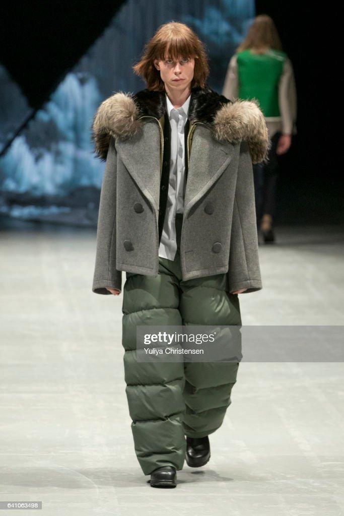 A model on the runway for Tonsure during the Copenhagen Fashion Week Autumn/Winter 17 on February 1, 2017 in Copenhagen, Denmark.