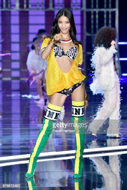 Model One Wang walks the runway during the 2017 Victoria's Secret Fashion Show In Shanghai at MercedesBenz Arena on November 20 2017 in Shanghai China