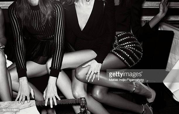 Model Ophélie Guillermand, Daria Strokous and Cindy Bruna are photographed for Madame Figaro on October 1, 2015 in Paris, France. Ophélie...