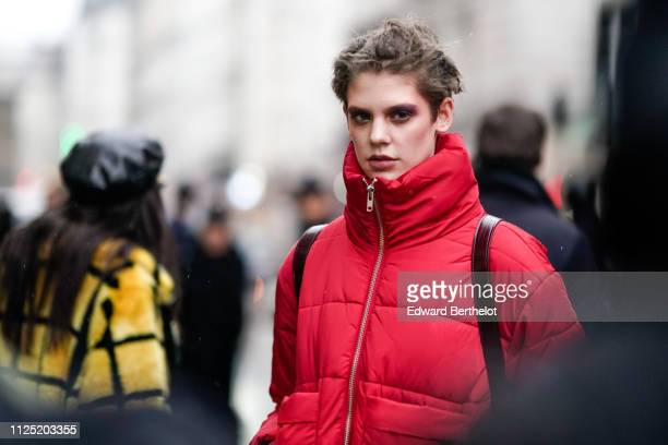 Model Oslo Grace outside Atelier JeanPaul Gaultier during Paris Fashion Week Haute Couture Spring Summer 2019 on January 23 2019 in Paris France