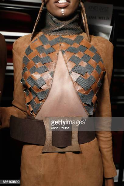 A model outfit detail is seen backstage ahead of the Ceren Ocak show during MercedesBenz Istanbul Fashion Week March 2017 at Grand Pera on March 22...