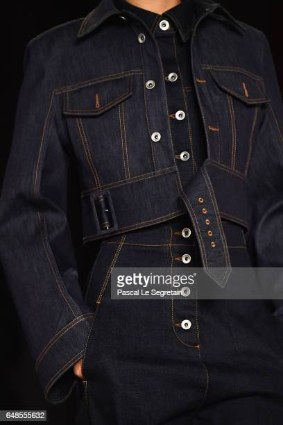 A model outfit detail walks the runway during the Stella McCartney show as part of the Paris Fashion Week Womenswear Fall/Winter 2017/2018 on March 6...