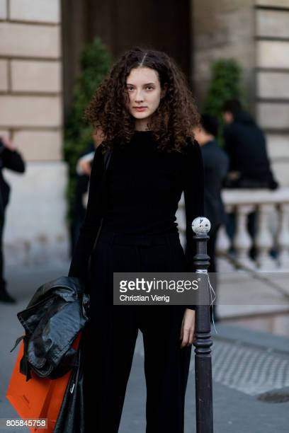 A model outside Miu Miu Cruise Collection during Paris Fashion Week Haute Couture Fall/Winter 20172018 Day One on July 2 2017 in Paris France