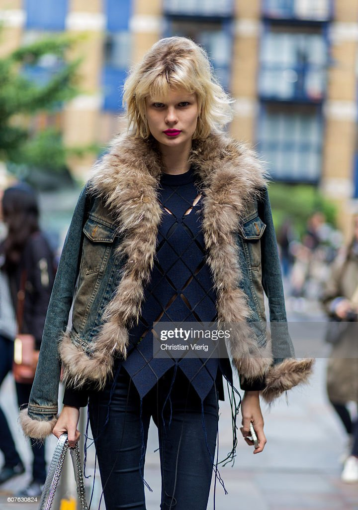 A model outside Topshop during London Fashion Week Spring/Summer collections 2017 on September 18, 2016 in London, United Kingdom.
