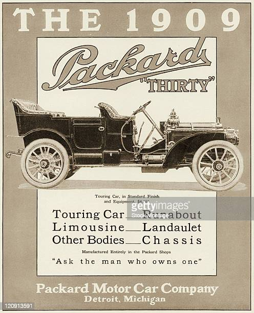 """Model Packard Thirty automobile is shown in a magazine advertisement from 1908. The ad suggests, """"Ask the man who owns one."""" The Touring Car..."""