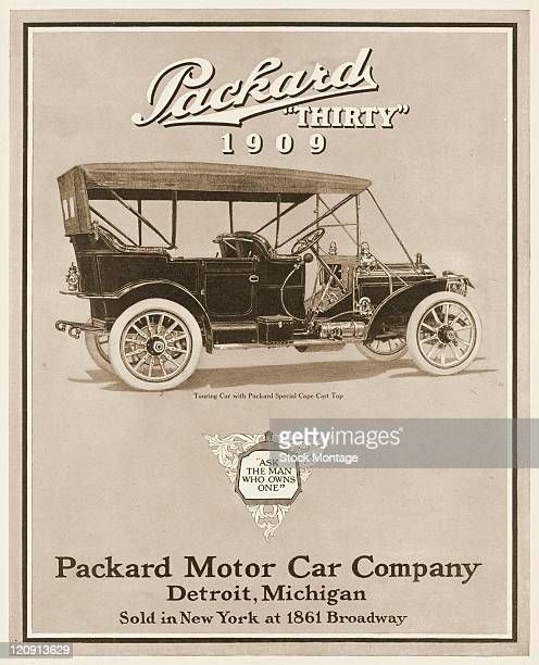 """Model Packard Thirty automobile is shown in a magazine advertisement from 1908. The ad suggests, """"Ask the man who owns one."""" The Touring Car pictured..."""