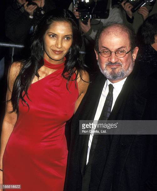 Model Padma Lakshmi and auther Salman Rushdie attend The Hours New York City Premiere on December 15 2002 at Paris Theater in New York City