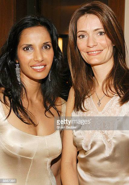 "Model Padma Lakshmi and writer Plum Sykes attend the Plum Sykes ""Bergdorf Blondes"" book launch party April 13, 2004 in New York, New York."