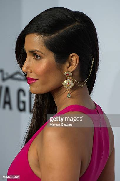 Model Padma Lakshmi attends the 2016 amfAR New York Gala at Cipriani Wall Street on February 10 2016 in New York City