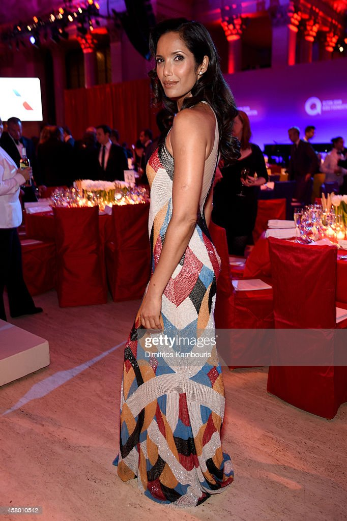 Model Padma Lakshmi attends the Elton John AIDS Foundation's 13th Annual An Enduring Vision Benefit at Cipriani Wall Street on October 28, 2014 in New York City.
