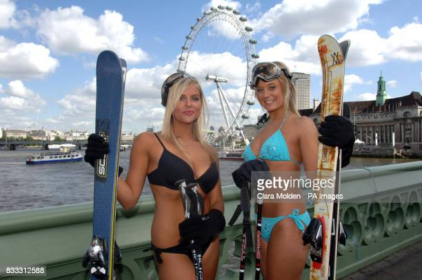 Model Paige Brindle is joined Michelle Watts on Westminster Bridge London as they wear bikinis and ski accessories in the height of summer to promote...