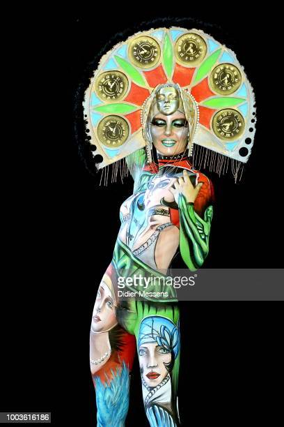 A model painted by bodypainting artist Anna Chapovalov from Italy poses for a picture at the 21st World Bodypainting Festival 2018 on July 12 2018 in...