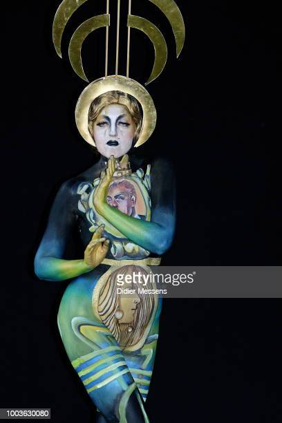 A model painted by bodypainting artist Bettina Strodi from Austria poses for a picture at the 21st World Bodypainting Festival 2018 on July 12 2018...