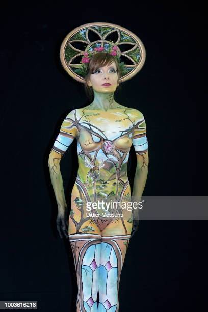 A model painted by bodypainting artist Laura Lizbeth from Austria poses for a picture at the 21st World Bodypainting Festival 2018 on July 12 2018 in...