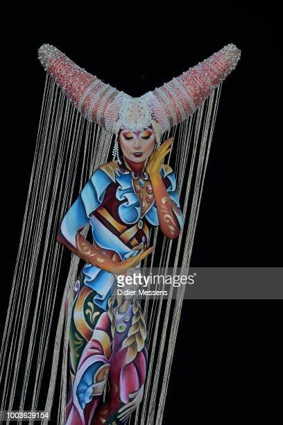 A model painted by bodypainting artist Marzia Bedeschi from Italy poses for a picture at the 21st World Bodypainting Festival 2018 on July 12 2018 in...
