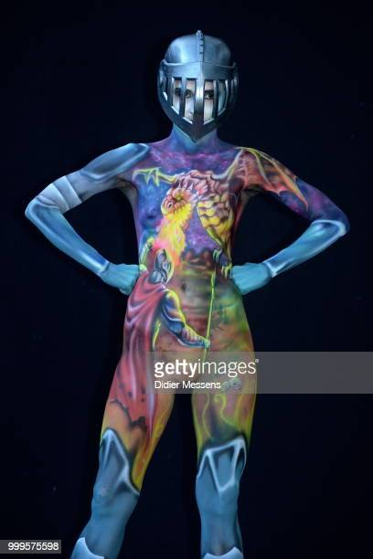 A model painted by bodypainting artist Miguel Guapacha from Colombia poses for a picture at the 21st World Bodypainting Festival 2018 on July 14 2018...