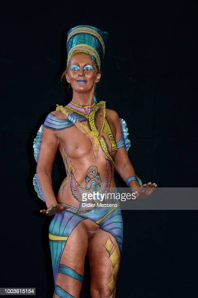 A model painted by bodypainting artist Peter Bauckhage from Germany poses for a picture at the 21st World Bodypainting Festival 2018 on July 12 2018...