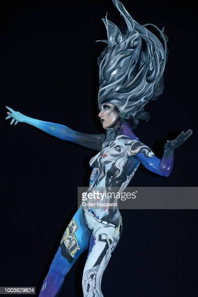 A model painted by bodypainting artist Svetlana Tatarkina from Russia poses for a picture at the 21st World Bodypainting Festival 2018 on July 12...