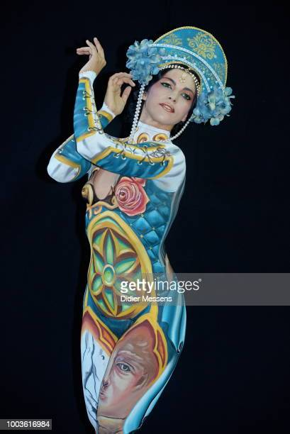 A model painted by bodypainting artist Tiziana La Monnica from Italy poses for a picture at the 21st World Bodypainting Festival 2018 on July 12 2018...
