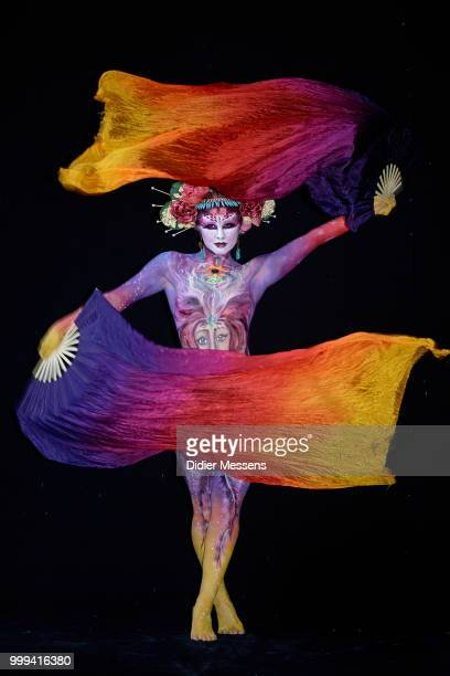 A model painted by bodypainting artist Wing Sum Diana Chan from Australia poses for a picture at the 21st World Bodypainting Festival 2018 on July 14...