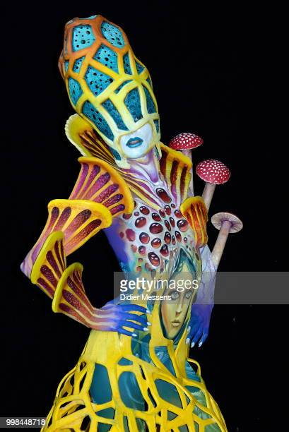 A model painted by bodypainting artists Matteo Affranoti from Italy nd Nick Wolfe from USA poses for a picture at the 21st World Bodypainting...