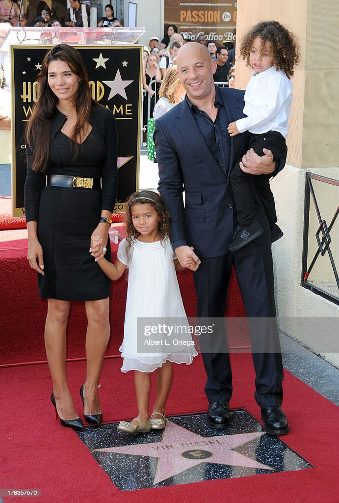 Model Paloma Jimenez, daughter Hania Riley, actor Vin Diesel and son Filmi participate in the Star Ceremony for Vin Diesel on the Hollywood Walk Of Fame held on August 26, 2013 in Hollywood, California.