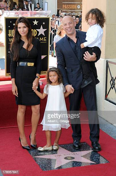 Model Paloma Jimenez daughter Hania Riley actor Vin Diesel and son Filmi participate in the Star Ceremony for Vin Diesel on the Hollywood Walk Of...