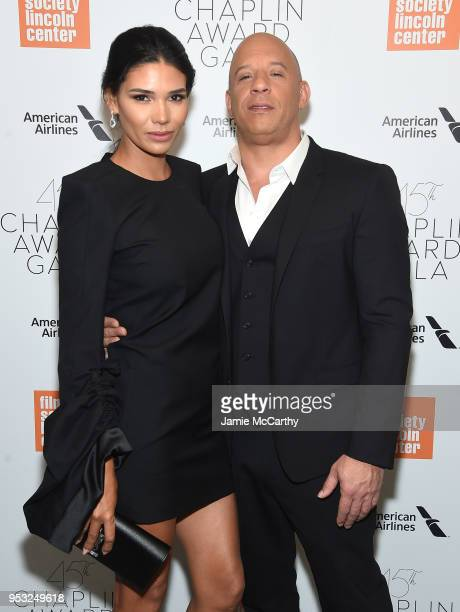 Model Paloma Jiménez and actor Vin Diesel attend the 45th Chaplin Award Gala at the on April 30 2018 in New York City