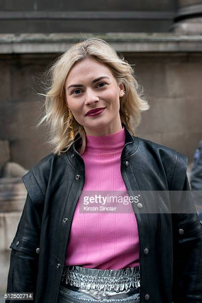 Model Pandora Sykes wears a Faith Connexion jacket on day 3 during London Fashion Week Autumn/Winter 2016/17 on February 21 2016 in London England...
