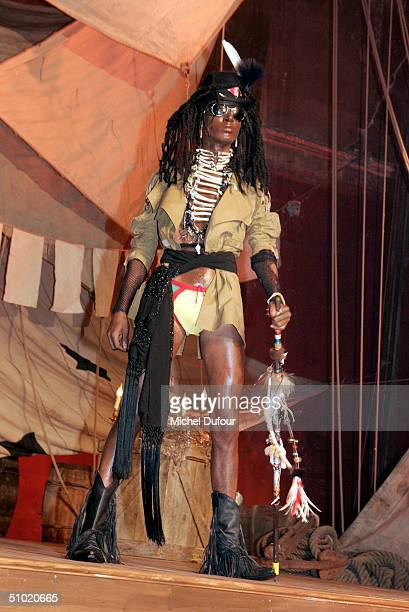 Model Paolo Goulde son of Grace Jones and Jean paul Goulde wearing designer John Galliano at the Men's Fashion Show Autumn Winter 0405 at the theater...