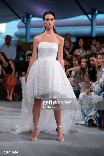 A model parade during the Adlib Moda Ibiza fashion show at the Momad Metropolis Fashion Fair in Madrid Spain on September 7 2018