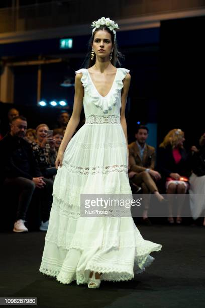 A model parade during the Adlib Moda Ibiza fashion show at the Momad week Fashion Fair in Madrid Spain on Februaryr 8 2019
