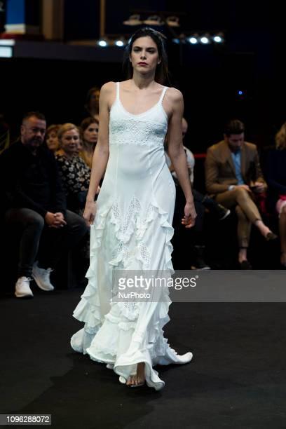 A model parade during the Adlib Moda Ibiza fashion show at the Momad week Fashion Fair in Madrid Spain on Februaryr 8 2019