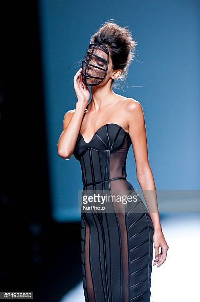 Model parades a design Maya Hansen, during the 60th Mercedes-Benz FashionWeek Madrid in Madrid, Spain, 13 September 2014.