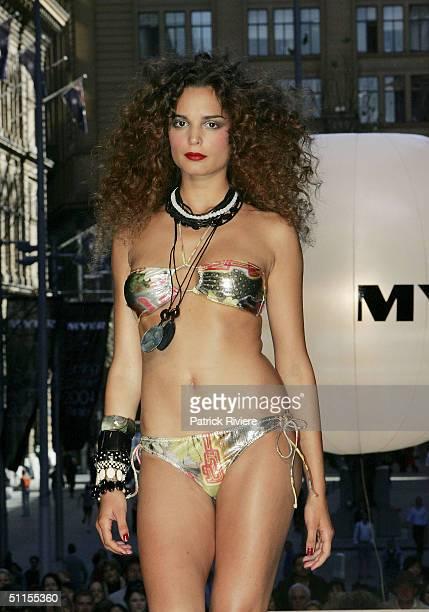 Model parades a TigerLilly design on an open air catwalk for the launch of the 2004 Spring Summer Myer Fashion at Martin Place August 9, 2004 in...