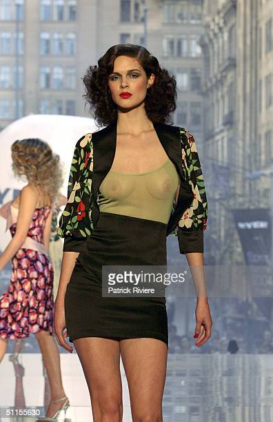 Model parades a Tina Kalivas design on an open air catwalk for the launch of the 2004 Spring Summer Myer Fashion at Martin Place August 9 2004 in...