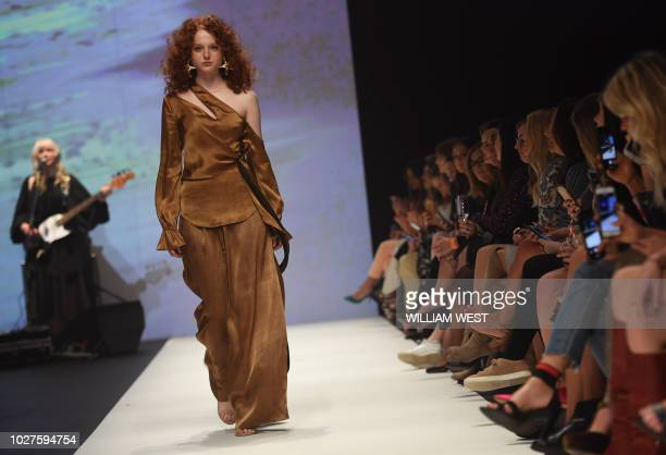 A model parades an outfit by Australian label Atoir during Melbourne Fashion Week on September 6 2018