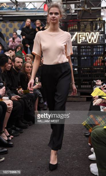 A model parades an outfit by Australian label Millicent Elizabeth during Melbourne Fashion Week on September 6 2018