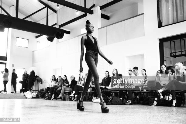 A model parades down the catwalk during the David Jones Spring Summer 18 Collections Launch Model Castings on July 10 2018 in Melbourne Australia